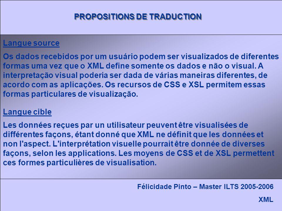PROPOSITIONS DE TRADUCTION Félicidade Pinto – Master ILTS 2005-2006 XML Os dados recebidos por um usuário podem ser visualizados de diferentes formas uma vez que o XML define somente os dados e não o visual.