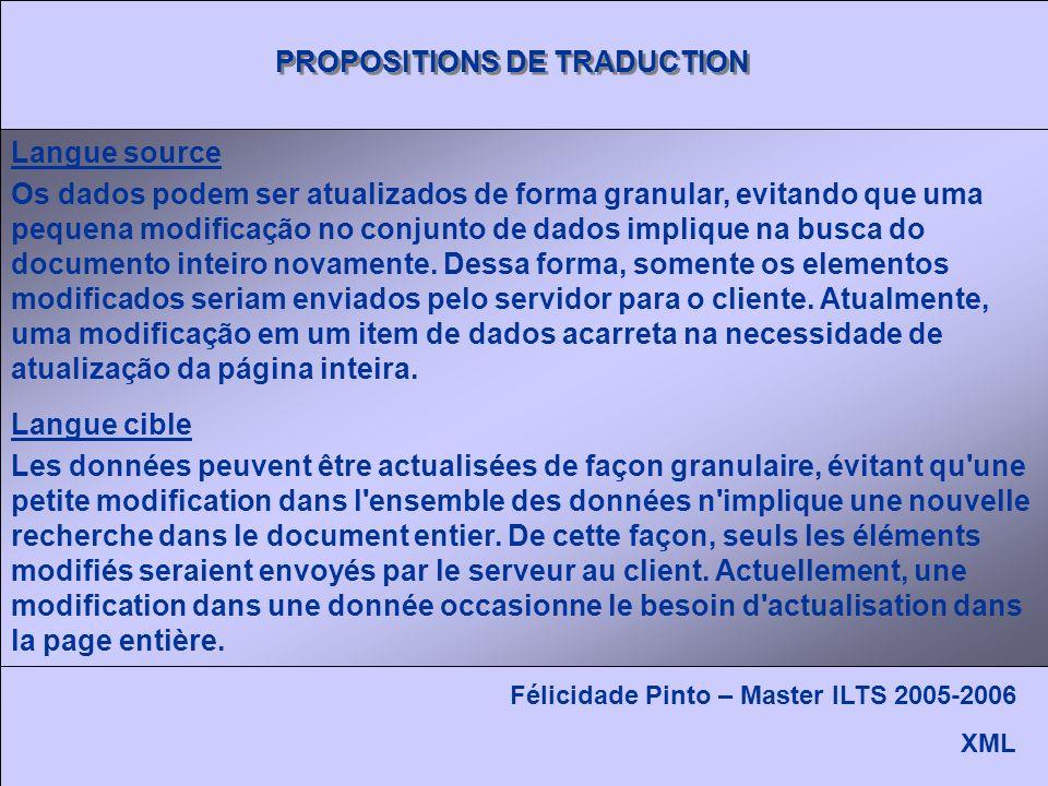 Félicidade Pinto – Master ILTS 2005-2006 XML Os dados podem ser atualizados de forma granular, evitando que uma pequena modificação no conjunto de dados implique na busca do documento inteiro novamente.