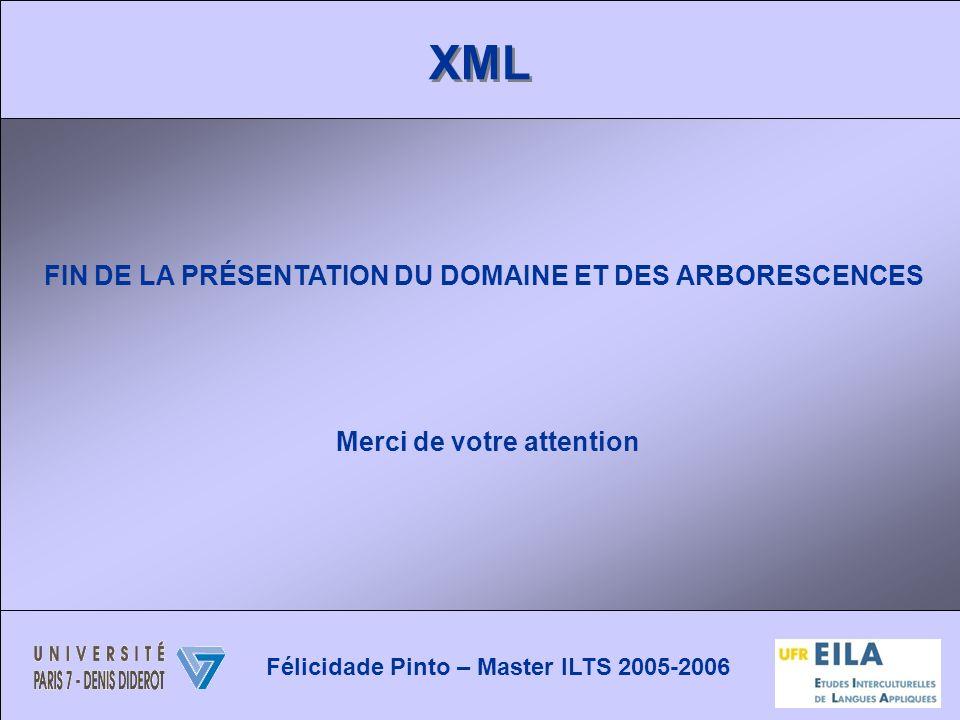 XML FIN DE LA PRÉSENTATION DU DOMAINE ET DES ARBORESCENCES Merci de votre attention Félicidade Pinto – Master ILTS 2005-2006