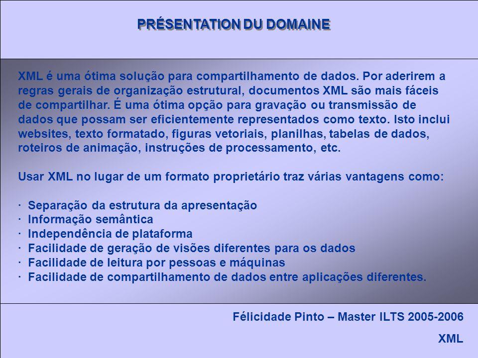 PRÉSENTATION DU DOMAINE Félicidade Pinto – Master ILTS 2005-2006 XML XML é uma ótima solução para compartilhamento de dados.