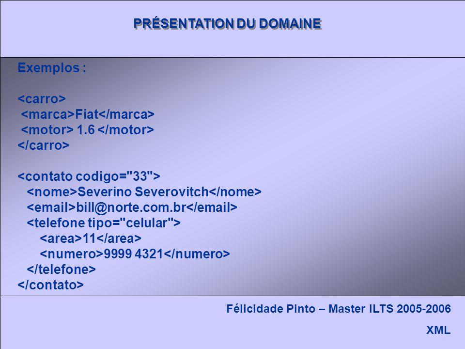 PRÉSENTATION DU DOMAINE Félicidade Pinto – Master ILTS 2005-2006 XML Exemplos : Fiat 1.6 Severino Severovitch bill@norte.com.br 11 9999 4321
