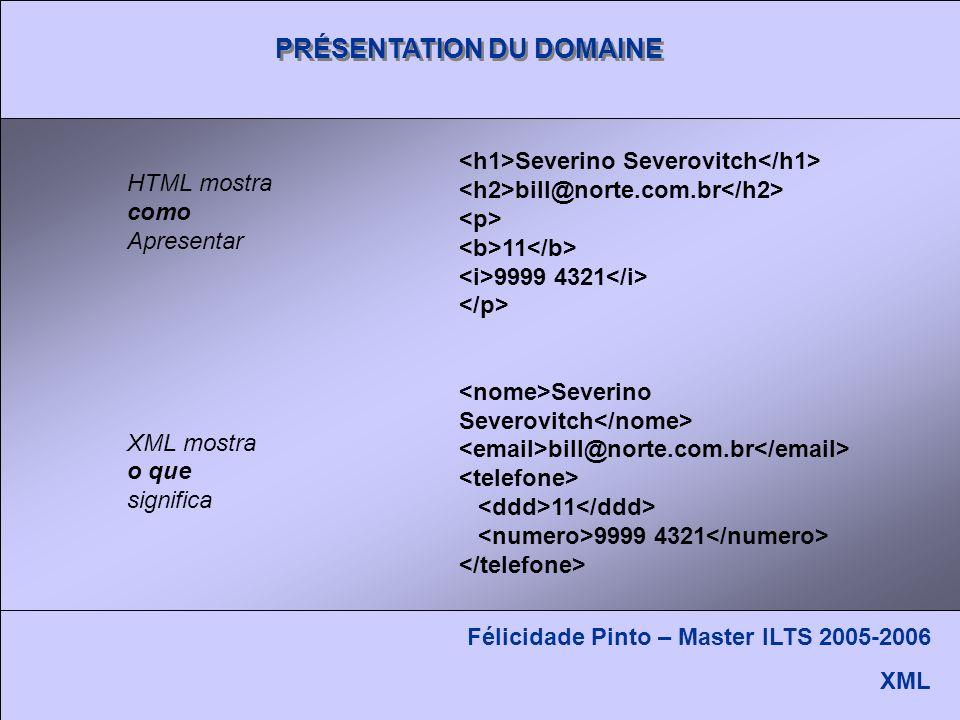 PRÉSENTATION DU DOMAINE Félicidade Pinto – Master ILTS 2005-2006 XML HTML mostra como Apresentar XML mostra o que significa Severino Severovitch bill@norte.com.br 11 9999 4321 Severino Severovitch bill@norte.com.br 11 9999 4321