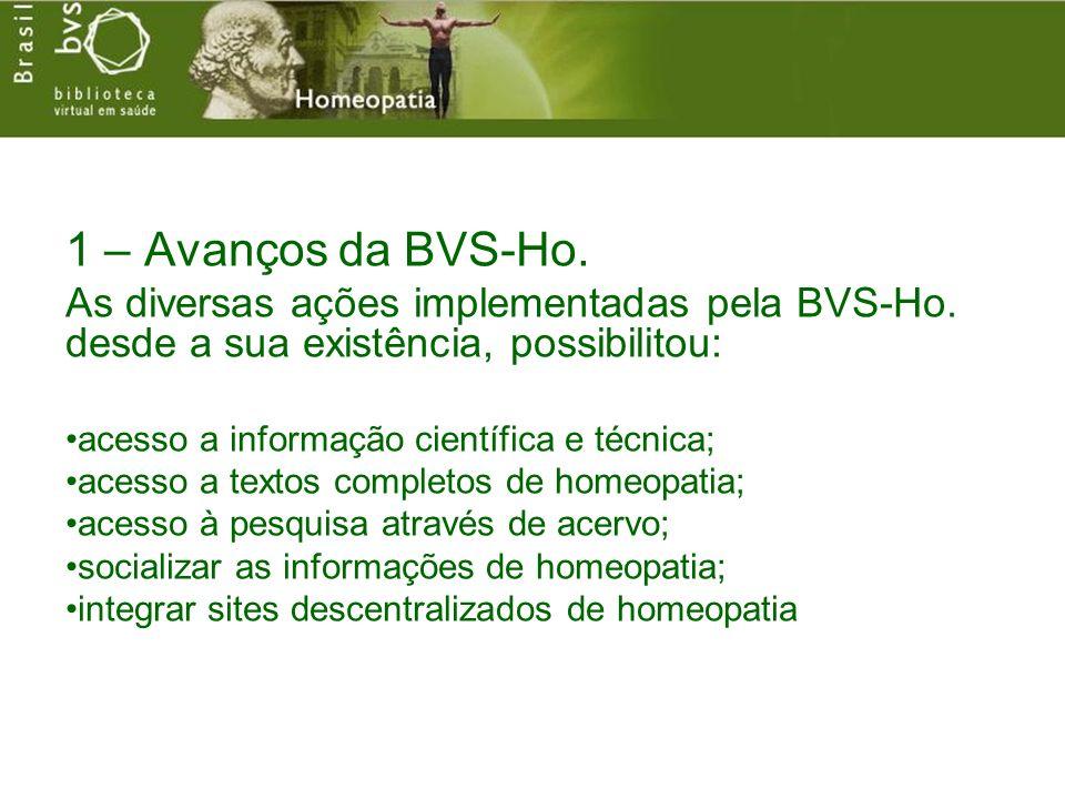 1 – Avanços da BVS-Ho. As diversas ações implementadas pela BVS-Ho. desde a sua existência, possibilitou: acesso a informação científica e técnica; ac