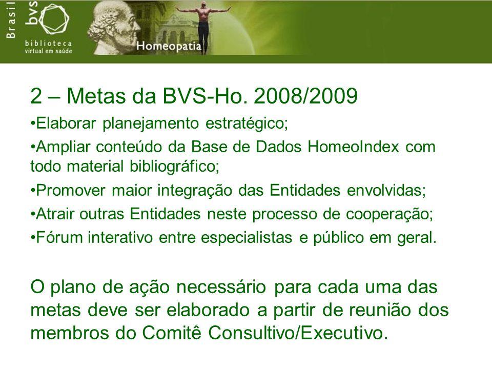 2 – Metas da BVS-Ho. 2008/2009 Elaborar planejamento estratégico; Ampliar conteúdo da Base de Dados HomeoIndex com todo material bibliográfico; Promov