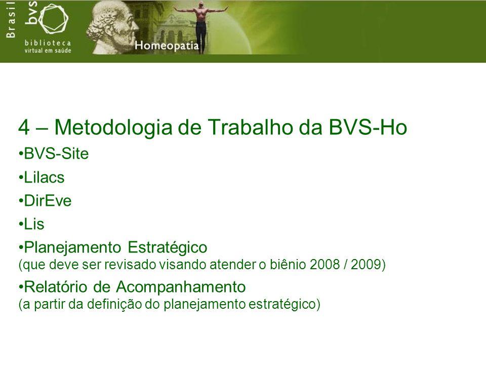 4 – Metodologia de Trabalho da BVS-Ho BVS-Site Lilacs DirEve Lis Planejamento Estratégico (que deve ser revisado visando atender o biênio 2008 / 2009) Relatório de Acompanhamento (a partir da definição do planejamento estratégico)