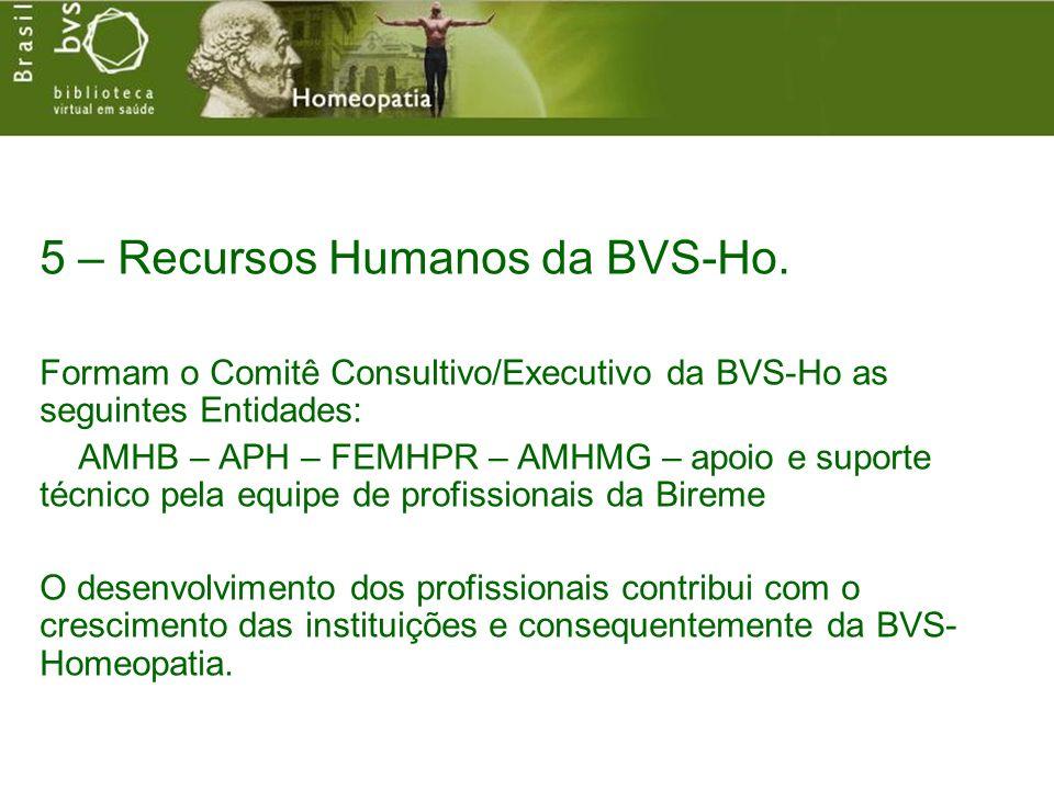 5 – Recursos Humanos da BVS-Ho. Formam o Comitê Consultivo/Executivo da BVS-Ho as seguintes Entidades: AMHB – APH – FEMHPR – AMHMG – apoio e suporte t