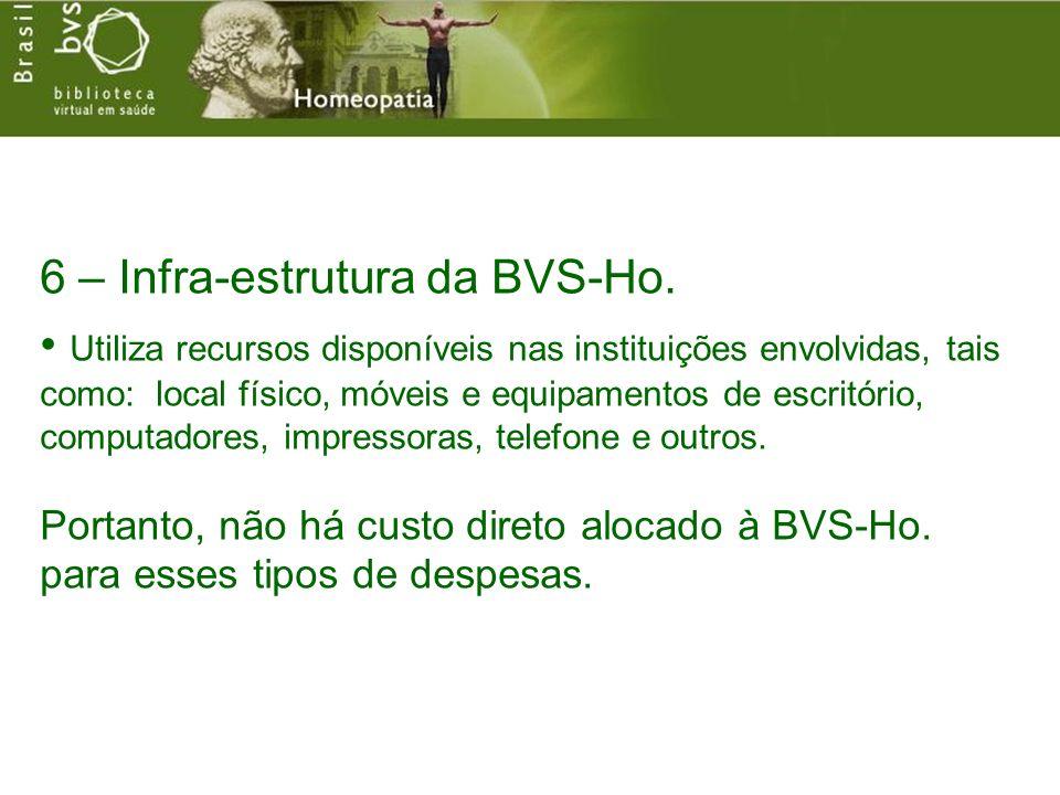 6 – Infra-estrutura da BVS-Ho. Utiliza recursos disponíveis nas instituições envolvidas, tais como: local físico, móveis e equipamentos de escritório,