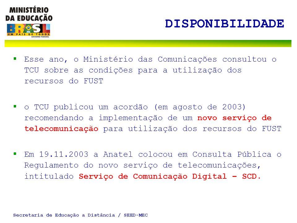Secretaria de Educação a Distância / SEED-MEC DISPONIBILIDADE Esse ano, o Ministério das Comunicações consultou o TCU sobre as condições para a utiliz