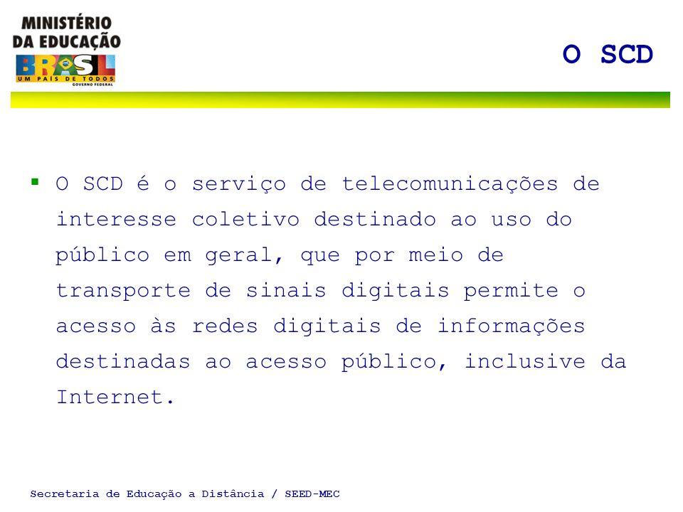 Secretaria de Educação a Distância / SEED-MEC O SCD O SCD é o serviço de telecomunicações de interesse coletivo destinado ao uso do público em geral,