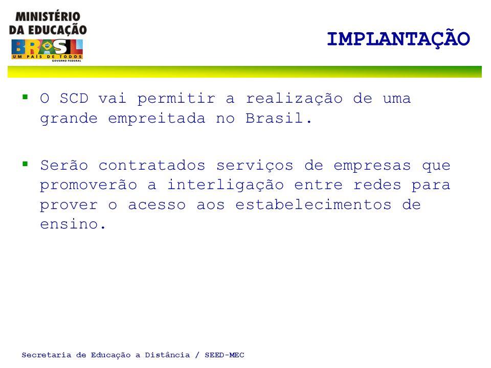Secretaria de Educação a Distância / SEED-MEC IMPLANTAÇÃO O SCD vai permitir a realização de uma grande empreitada no Brasil. Serão contratados serviç