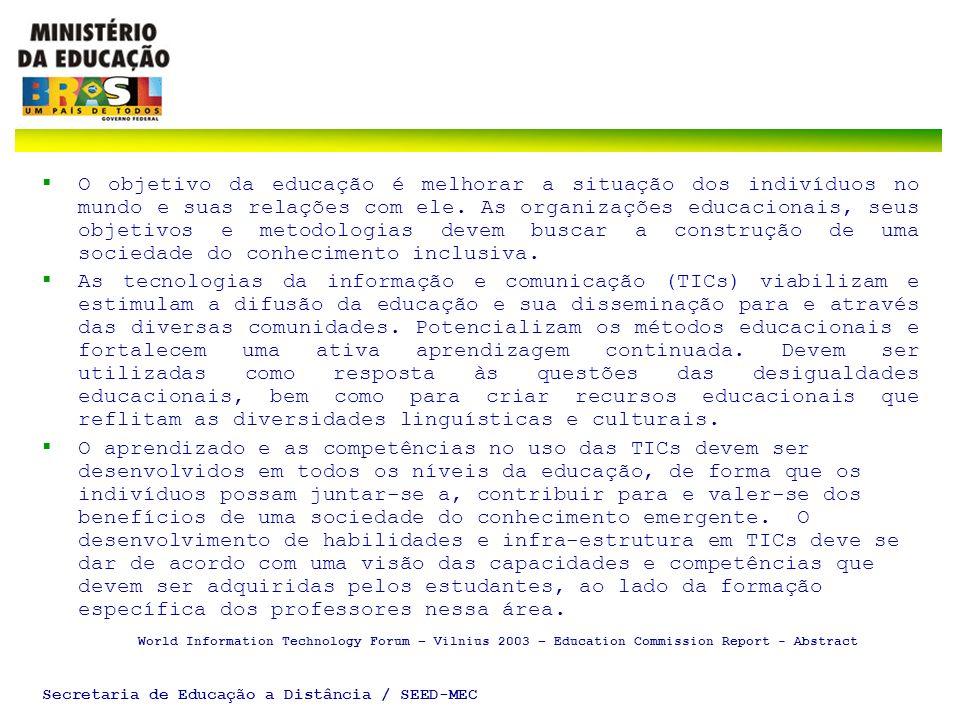 Secretaria de Educação a Distância / SEED-MEC INTRODUÇÃO A presente apresentação tem por objetivo geral informar sobre o Fundo de Universalização para os Serviços de Telecomunicação – FUST, e as ações empreendidas pelo Governo Federal para sua utilização.