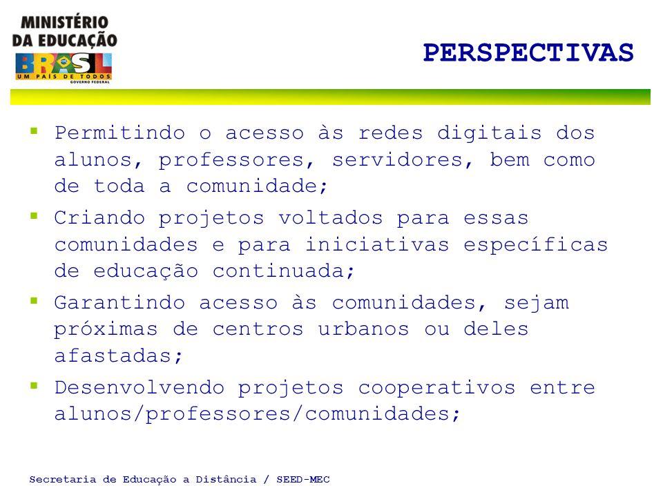 Secretaria de Educação a Distância / SEED-MEC PERSPECTIVAS Permitindo o acesso às redes digitais dos alunos, professores, servidores, bem como de toda