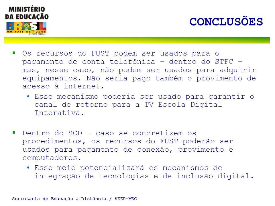 Secretaria de Educação a Distância / SEED-MEC CONCLUSÕES Os recursos do FUST podem ser usados para o pagamento de conta telefônica – dentro do STFC – mas, nesse caso, não podem ser usados para adquirir equipamentos.