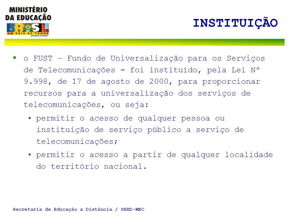 Secretaria de Educação a Distância / SEED-MEC INSTITUIÇÃO o FUST – Fundo de Universalização para os Serviços de Telecomunicações - foi instituído, pel