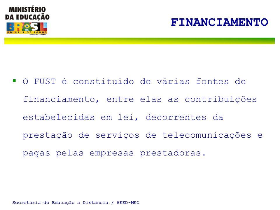 Secretaria de Educação a Distância / SEED-MEC FINANCIAMENTO O FUST é constituído de várias fontes de financiamento, entre elas as contribuições estabelecidas em lei, decorrentes da prestação de serviços de telecomunicações e pagas pelas empresas prestadoras.