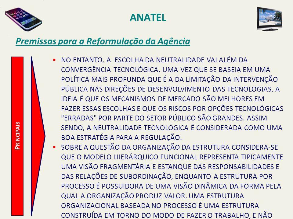 ANATEL P RINCIPAIS Premissas para a Reformulação da Agência NO ENTANTO, A ESCOLHA DA NEUTRALIDADE VAI ALÉM DA CONVERGÊNCIA TECNOLÓGICA, UMA VEZ QUE SE BASEIA EM UMA POLÍTICA MAIS PROFUNDA QUE É A DA LIMITAÇÃO DA INTERVENÇÃO PÚBLICA NAS DIREÇÕES DE DESENVOLVIMENTO DAS TECNOLOGIAS.