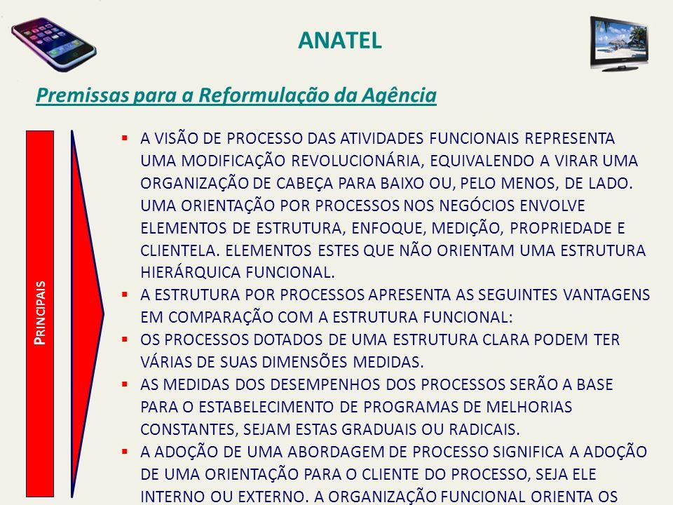 ANATEL P RINCIPAIS Premissas para a Reformulação da Agência A VISÃO DE PROCESSO DAS ATIVIDADES FUNCIONAIS REPRESENTA UMA MODIFICAÇÃO REVOLUCIONÁRIA, EQUIVALENDO A VIRAR UMA ORGANIZAÇÃO DE CABEÇA PARA BAIXO OU, PELO MENOS, DE LADO.