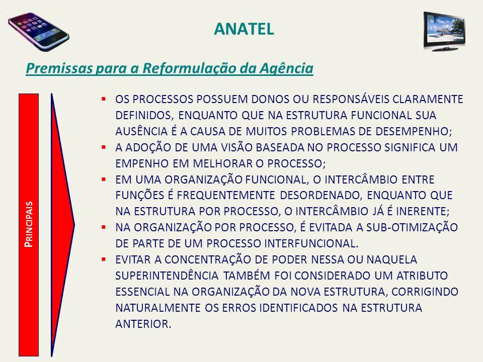 ANATEL P RINCIPAIS Premissas para a Reformulação da Agência OS PROCESSOS POSSUEM DONOS OU RESPONSÁVEIS CLARAMENTE DEFINIDOS, ENQUANTO QUE NA ESTRUTURA FUNCIONAL SUA AUSÊNCIA É A CAUSA DE MUITOS PROBLEMAS DE DESEMPENHO; A ADOÇÃO DE UMA VISÃO BASEADA NO PROCESSO SIGNIFICA UM EMPENHO EM MELHORAR O PROCESSO; EM UMA ORGANIZAÇÃO FUNCIONAL, O INTERCÂMBIO ENTRE FUNÇÕES É FREQUENTEMENTE DESORDENADO, ENQUANTO QUE NA ESTRUTURA POR PROCESSO, O INTERCÂMBIO JÁ É INERENTE; NA ORGANIZAÇÃO POR PROCESSO, É EVITADA A SUB-OTIMIZAÇÃO DE PARTE DE UM PROCESSO INTERFUNCIONAL.