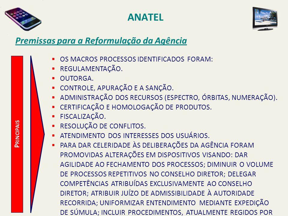 ANATEL P RINCIPAIS Premissas para a Reformulação da Agência OS MACROS PROCESSOS IDENTIFICADOS FORAM: REGULAMENTAÇÃO.