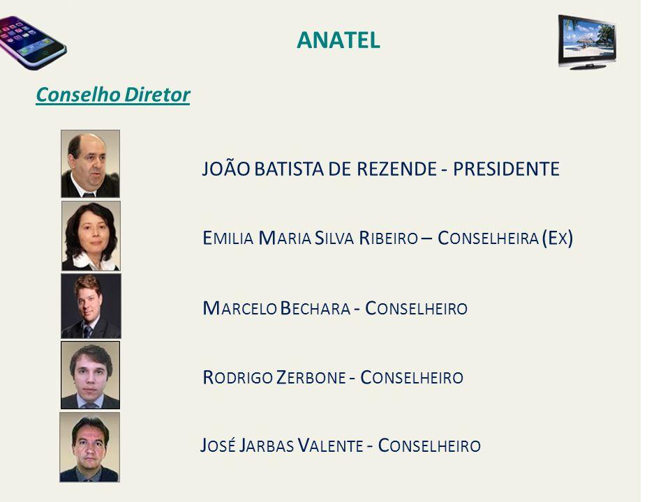 Conselho Diretor ANATEL JOÃO BATISTA DE REZENDE - PRESIDENTE E MILIA M ARIA S ILVA R IBEIRO – C ONSELHEIRA (E X ) M ARCELO B ECHARA - C ONSELHEIRO R ODRIGO Z ERBONE - C ONSELHEIRO J OSÉ J ARBAS V ALENTE - C ONSELHEIRO