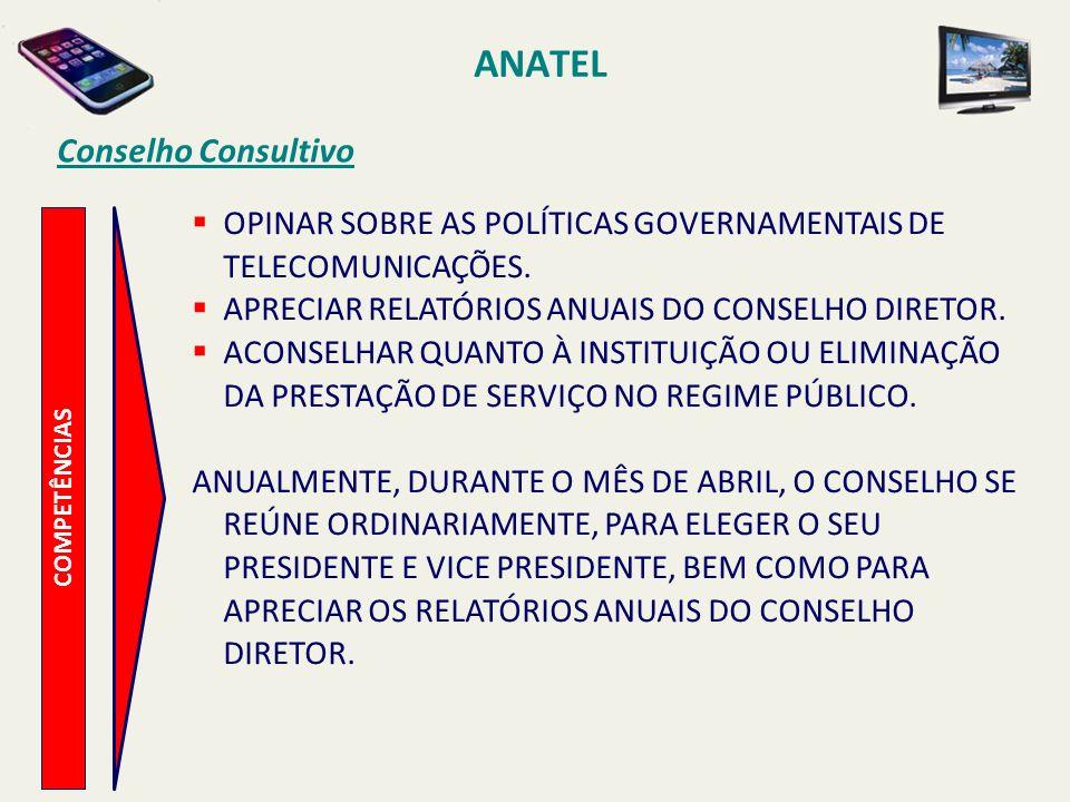 ANATEL COMPETÊNCIAS Conselho Consultivo OPINAR SOBRE AS POLÍTICAS GOVERNAMENTAIS DE TELECOMUNICAÇÕES.