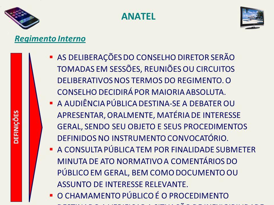 ANATEL DEFINIÇÕES Regimento Interno AS DELIBERAÇÕES DO CONSELHO DIRETOR SERÃO TOMADAS EM SESSÕES, REUNIÕES OU CIRCUITOS DELIBERATIVOS NOS TERMOS DO REGIMENTO.