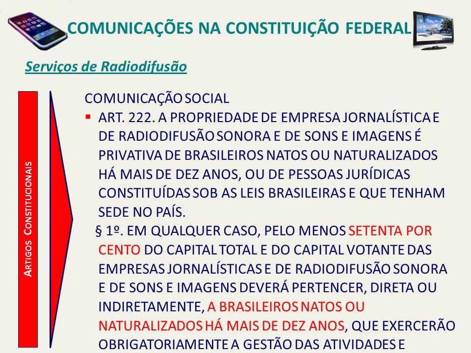A RTIGOS C ONSTITUCIONAIS Serviços de Radiodifusão COMUNICAÇÃO SOCIAL ART.