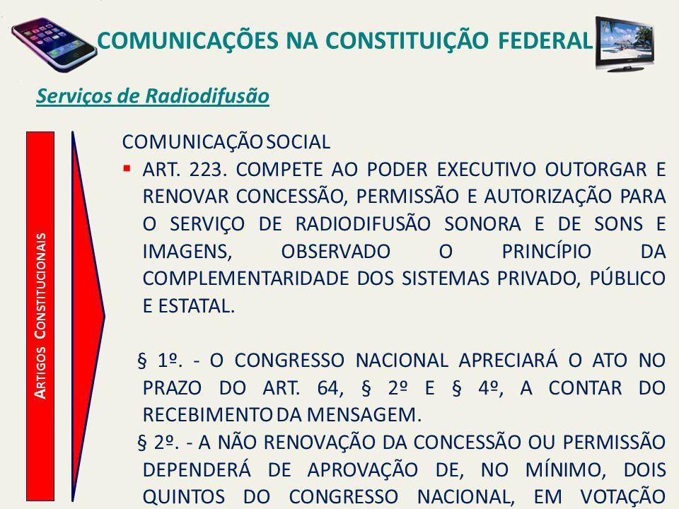 A RTIGOS C ONSTITUCIONAIS Serviços de Radiodifusão COMUNICAÇÕES NA CONSTITUIÇÃO FEDERAL COMUNICAÇÃO SOCIAL ART.