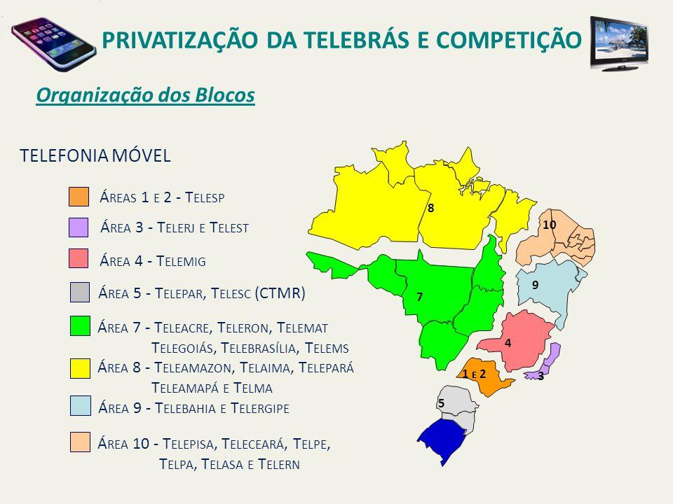 Organização dos Blocos Á REAS 1 E 2 - T ELESP Á REA 3 - T ELERJ E T ELEST Á REA 4 - T ELEMIG Á REA 5 - T ELEPAR, T ELESC (CTMR) Á REA 8 - T ELEAMAZON, T ELAIMA, T ELEPARÁ T ELEAMAPÁ E T ELMA Á REA 9 - T ELEBAHIA E T ELERGIPE Á REA 10 - T ELEPISA, T ELECEARÁ, T ELPE, T ELPA, T ELASA E T ELERN Á REA 7 - T ELEACRE, T ELERON, T ELEMAT T ELEGOIÁS, T ELEBRASÍLIA, T ELEMS TELEFONIA MÓVEL 8 7 1 E 2 10 9 5 4 3 PRIVATIZAÇÃO DA TELEBRÁS E COMPETIÇÃO