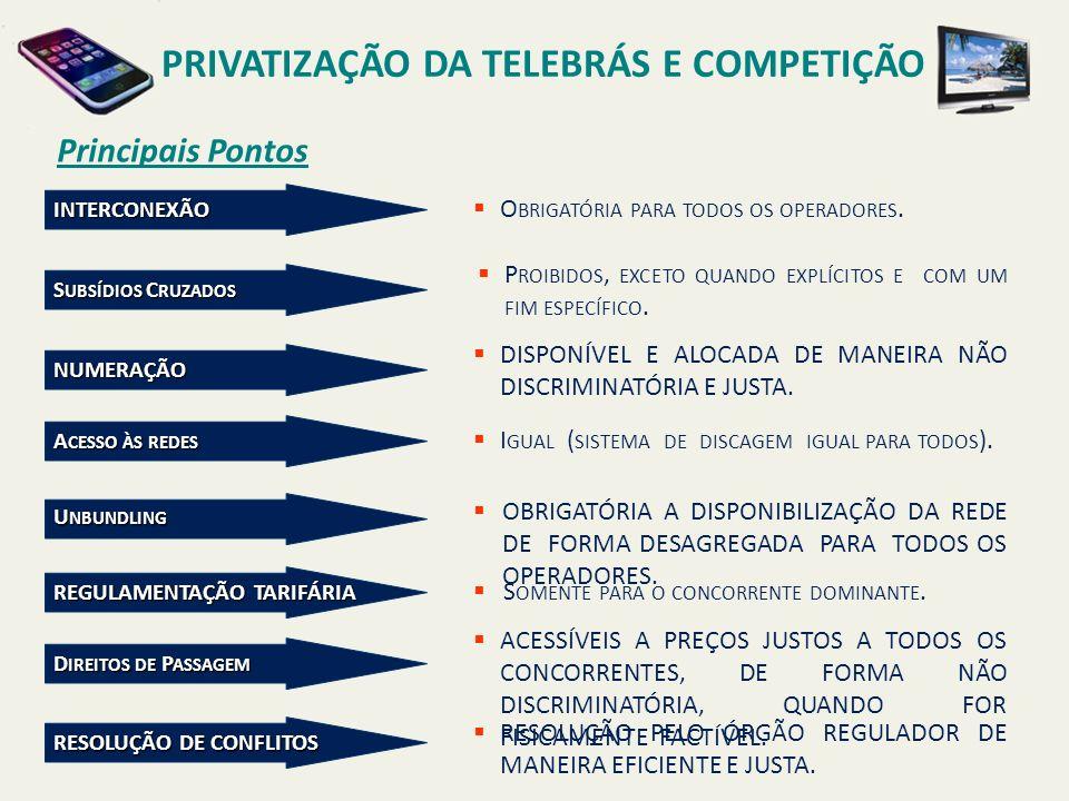Principais Pontos PRIVATIZAÇÃO DA TELEBRÁS E COMPETIÇÃO INTERCONEXÃO O BRIGATÓRIA PARA TODOS OS OPERADORES.