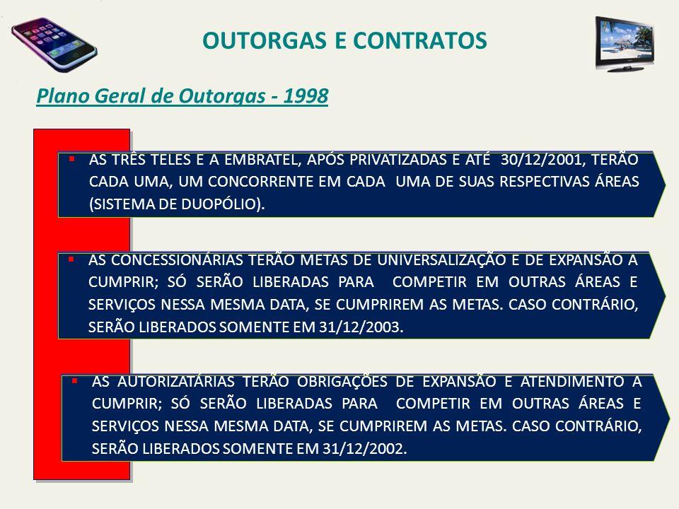 Plano Geral de Outorgas - 1998 AS CONCESSIONÁRIAS TERÃO METAS DE UNIVERSALIZAÇÃO E DE EXPANSÃO A CUMPRIR; SÓ SERÃO LIBERADAS PARA COMPETIR EM OUTRAS ÁREAS E SERVIÇOS NESSA MESMA DATA, SE CUMPRIREM AS METAS.