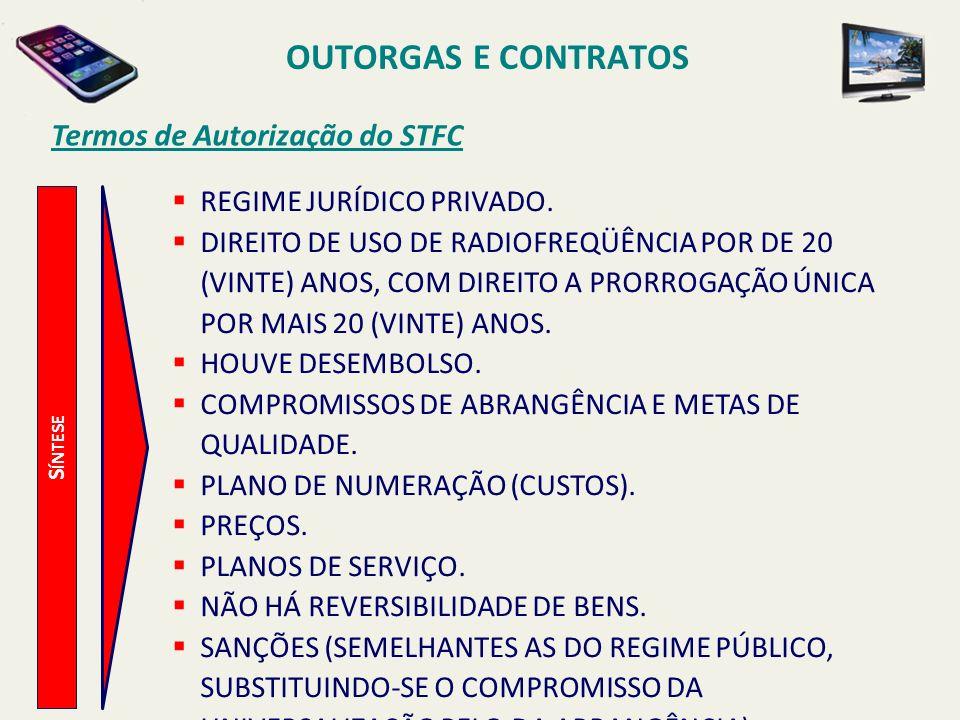 S ÍNTESE Termos de Autorização do STFC REGIME JURÍDICO PRIVADO.