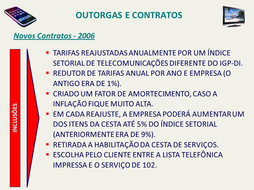 INCLUSÕES Novos Contratos - 2006 TARIFAS REAJUSTADAS ANUALMENTE POR UM ÍNDICE SETORIAL DE TELECOMUNICAÇÕES DIFERENTE DO IGP-DI.