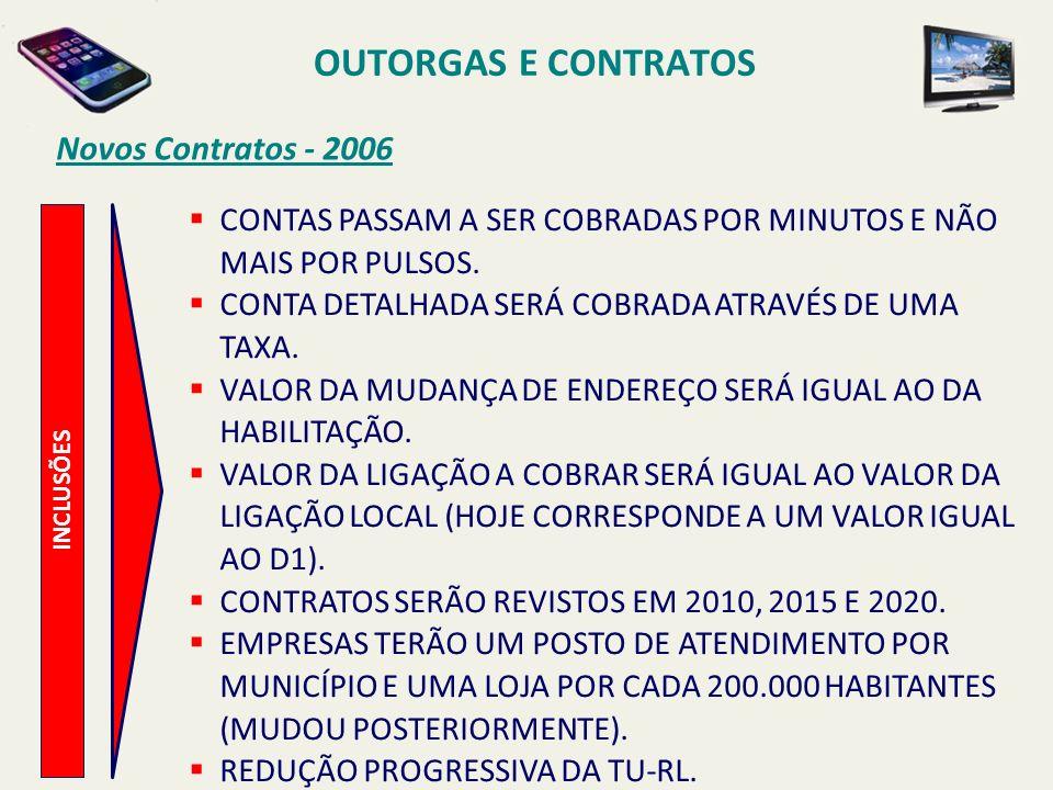 INCLUSÕES Novos Contratos - 2006 CONTAS PASSAM A SER COBRADAS POR MINUTOS E NÃO MAIS POR PULSOS.