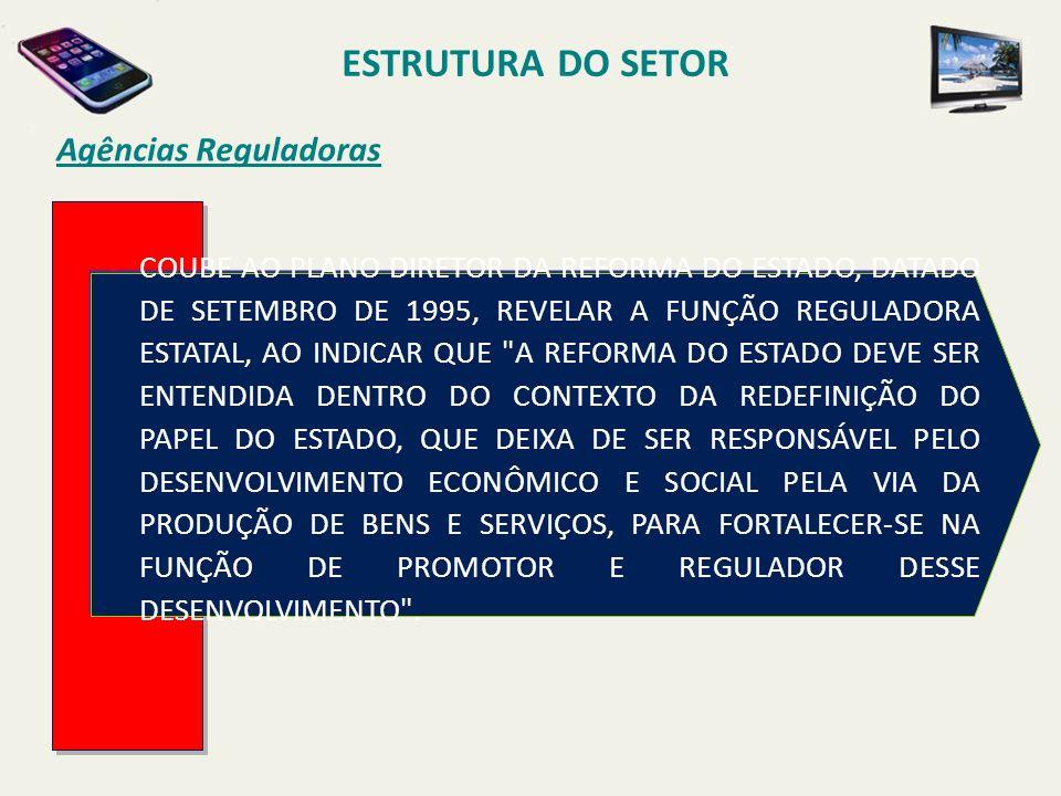 Agências Reguladoras COUBE AO PLANO DIRETOR DA REFORMA DO ESTADO, DATADO DE SETEMBRO DE 1995, REVELAR A FUNÇÃO REGULADORA ESTATAL, AO INDICAR QUE A REFORMA DO ESTADO DEVE SER ENTENDIDA DENTRO DO CONTEXTO DA REDEFINIÇÃO DO PAPEL DO ESTADO, QUE DEIXA DE SER RESPONSÁVEL PELO DESENVOLVIMENTO ECONÔMICO E SOCIAL PELA VIA DA PRODUÇÃO DE BENS E SERVIÇOS, PARA FORTALECER-SE NA FUNÇÃO DE PROMOTOR E REGULADOR DESSE DESENVOLVIMENTO .