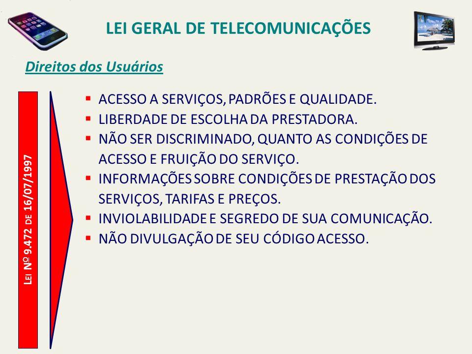 L EI N O 9.472 DE 16/07/1997 Direitos dos Usuários ACESSO A SERVIÇOS, PADRÕES E QUALIDADE.