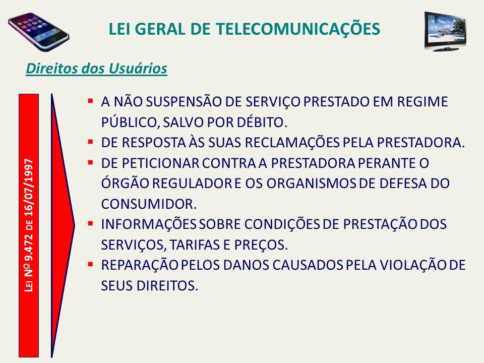 L EI N O 9.472 DE 16/07/1997 Direitos dos Usuários A NÃO SUSPENSÃO DE SERVIÇO PRESTADO EM REGIME PÚBLICO, SALVO POR DÉBITO.
