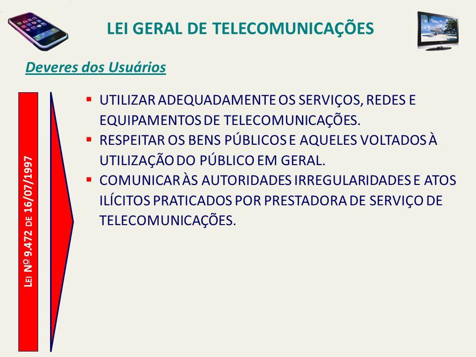 L EI N O 9.472 DE 16/07/1997 Deveres dos Usuários UTILIZAR ADEQUADAMENTE OS SERVIÇOS, REDES E EQUIPAMENTOS DE TELECOMUNICAÇÕES.