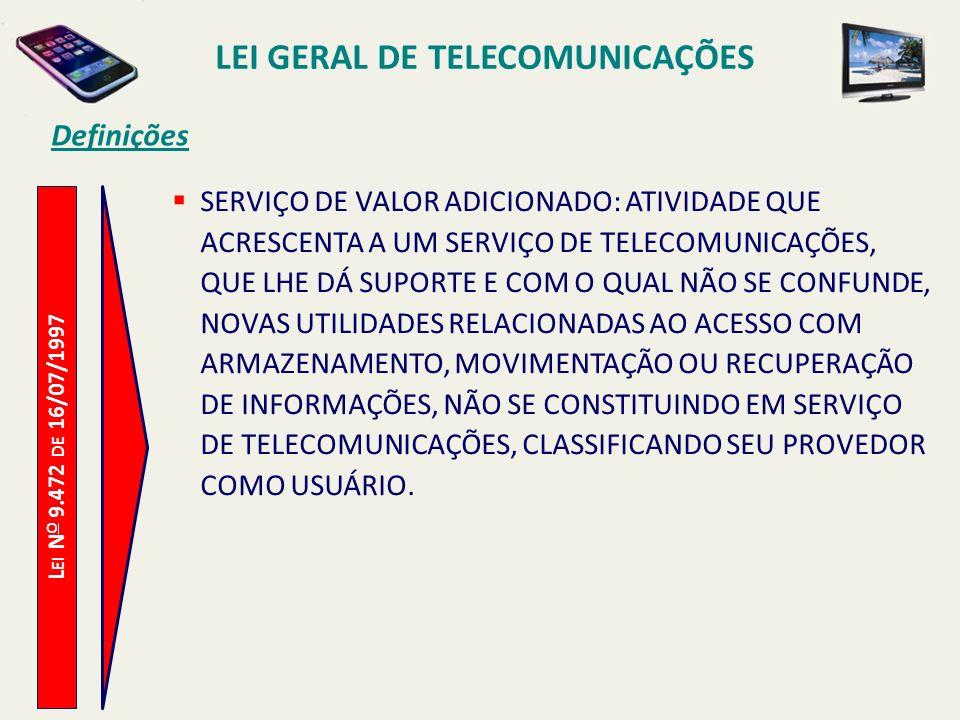L EI N O 9.472 DE 16/07/1997 Definições SERVIÇO DE VALOR ADICIONADO: ATIVIDADE QUE ACRESCENTA A UM SERVIÇO DE TELECOMUNICAÇÕES, QUE LHE DÁ SUPORTE E COM O QUAL NÃO SE CONFUNDE, NOVAS UTILIDADES RELACIONADAS AO ACESSO COM ARMAZENAMENTO, MOVIMENTAÇÃO OU RECUPERAÇÃO DE INFORMAÇÕES, NÃO SE CONSTITUINDO EM SERVIÇO DE TELECOMUNICAÇÕES, CLASSIFICANDO SEU PROVEDOR COMO USUÁRIO.