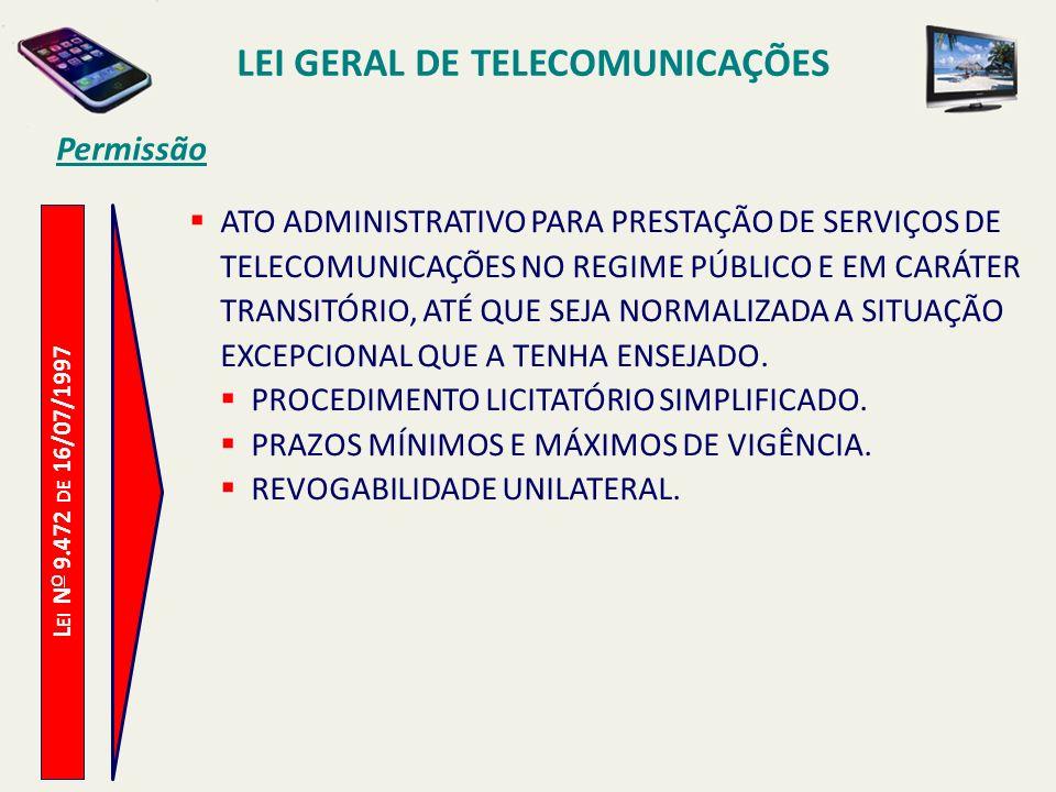 L EI N O 9.472 DE 16/07/1997 Permissão ATO ADMINISTRATIVO PARA PRESTAÇÃO DE SERVIÇOS DE TELECOMUNICAÇÕES NO REGIME PÚBLICO E EM CARÁTER TRANSITÓRIO, ATÉ QUE SEJA NORMALIZADA A SITUAÇÃO EXCEPCIONAL QUE A TENHA ENSEJADO.