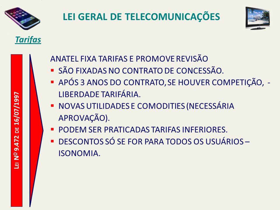 L EI N O 9.472 DE 16/07/1997 Tarifas ANATEL FIXA TARIFAS E PROMOVE REVISÃO SÃO FIXADAS NO CONTRATO DE CONCESSÃO.