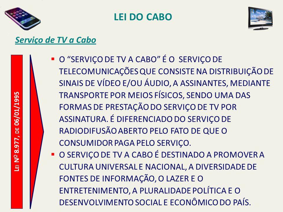 L EI N O 8.977, DE 06/01/1995 Serviço de TV a Cabo O SERVIÇO DE TV A CABO É O SERVIÇO DE TELECOMUNICAÇÕES QUE CONSISTE NA DISTRIBUIÇÃO DE SINAIS DE VÍDEO E/OU ÁUDIO, A ASSINANTES, MEDIANTE TRANSPORTE POR MEIOS FÍSICOS, SENDO UMA DAS FORMAS DE PRESTAÇÃO DO SERVIÇO DE TV POR ASSINATURA.
