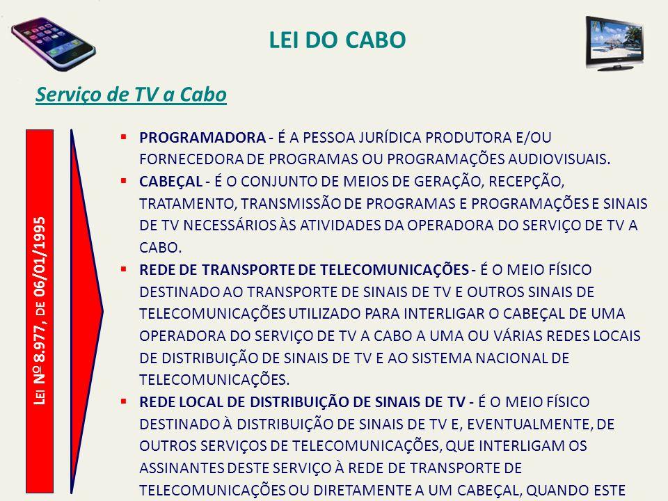 L EI N O 8.977, DE 06/01/1995 Serviço de TV a Cabo PROGRAMADORA - É A PESSOA JURÍDICA PRODUTORA E/OU FORNECEDORA DE PROGRAMAS OU PROGRAMAÇÕES AUDIOVISUAIS.