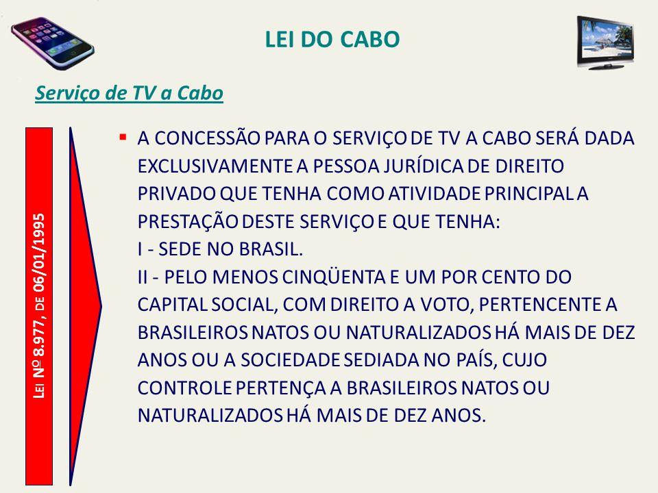 L EI N O 8.977, DE 06/01/1995 Serviço de TV a Cabo A CONCESSÃO PARA O SERVIÇO DE TV A CABO SERÁ DADA EXCLUSIVAMENTE A PESSOA JURÍDICA DE DIREITO PRIVADO QUE TENHA COMO ATIVIDADE PRINCIPAL A PRESTAÇÃO DESTE SERVIÇO E QUE TENHA: I - SEDE NO BRASIL.