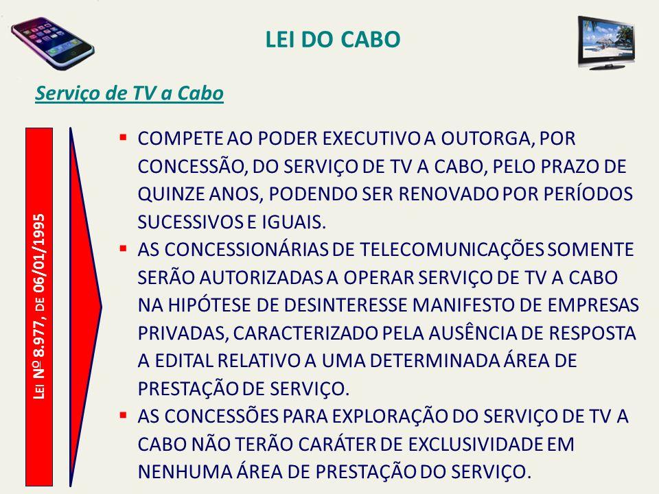 L EI N O 8.977, DE 06/01/1995 Serviço de TV a Cabo COMPETE AO PODER EXECUTIVO A OUTORGA, POR CONCESSÃO, DO SERVIÇO DE TV A CABO, PELO PRAZO DE QUINZE ANOS, PODENDO SER RENOVADO POR PERÍODOS SUCESSIVOS E IGUAIS.