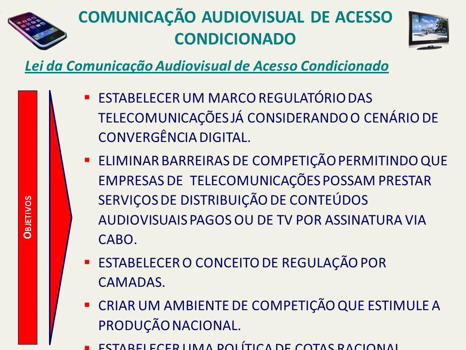 O BJETIVOS Lei da Comunicação Audiovisual de Acesso Condicionado ESTABELECER UM MARCO REGULATÓRIO DAS TELECOMUNICAÇÕES JÁ CONSIDERANDO O CENÁRIO DE CONVERGÊNCIA DIGITAL.