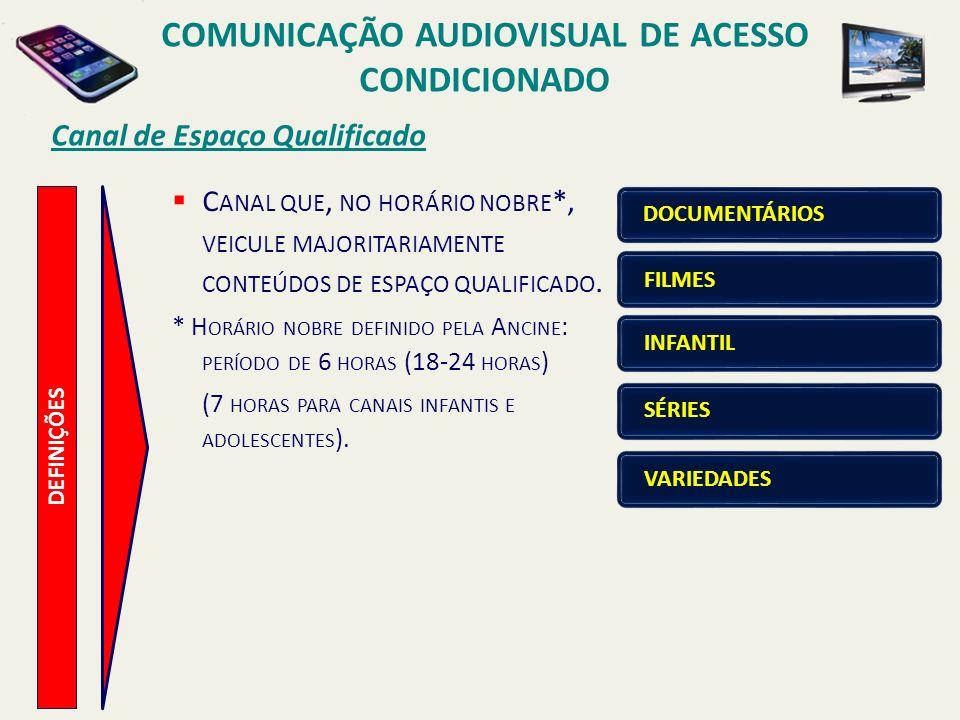Canal de Espaço Qualificado COMUNICAÇÃO AUDIOVISUAL DE ACESSO CONDICIONADO DEFINIÇÕES C ANAL QUE, NO HORÁRIO NOBRE *, VEICULE MAJORITARIAMENTE CONTEÚDOS DE ESPAÇO QUALIFICADO.