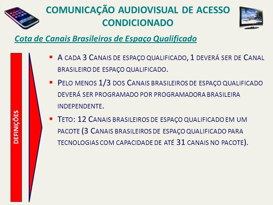 Cota de Canais Brasileiros de Espaço Qualificado COMUNICAÇÃO AUDIOVISUAL DE ACESSO CONDICIONADO DEFINIÇÕES A CADA 3 C ANAIS DE ESPAÇO QUALIFICADO, 1 DEVERÁ SER DE C ANAL BRASILEIRO DE ESPAÇO QUALIFICADO.