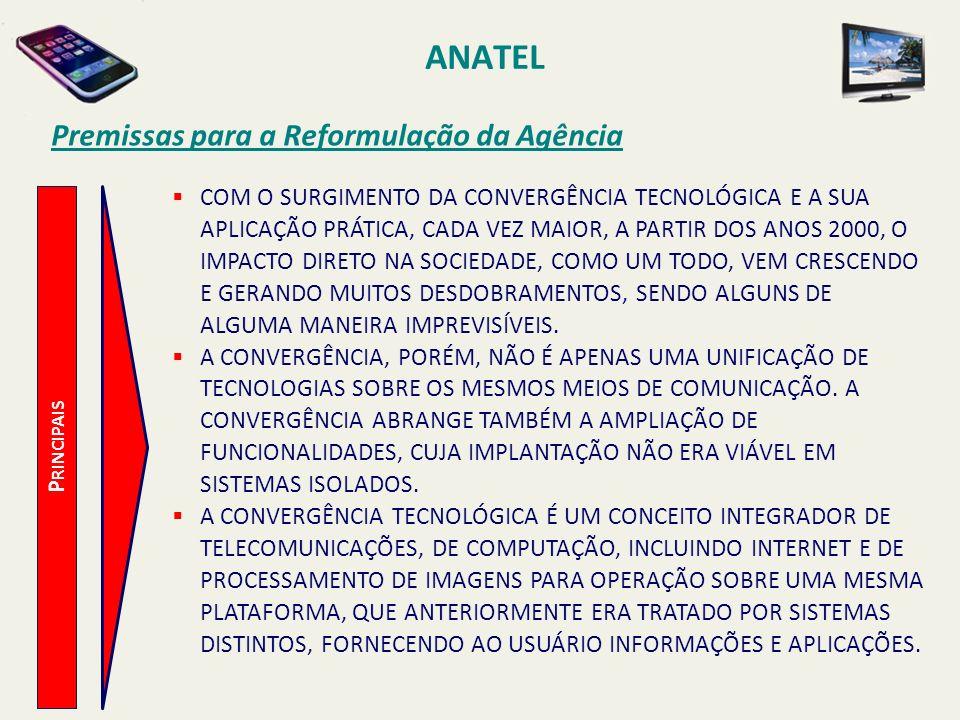 ANATEL P RINCIPAIS Premissas para a Reformulação da Agência COM O SURGIMENTO DA CONVERGÊNCIA TECNOLÓGICA E A SUA APLICAÇÃO PRÁTICA, CADA VEZ MAIOR, A PARTIR DOS ANOS 2000, O IMPACTO DIRETO NA SOCIEDADE, COMO UM TODO, VEM CRESCENDO E GERANDO MUITOS DESDOBRAMENTOS, SENDO ALGUNS DE ALGUMA MANEIRA IMPREVISÍVEIS.