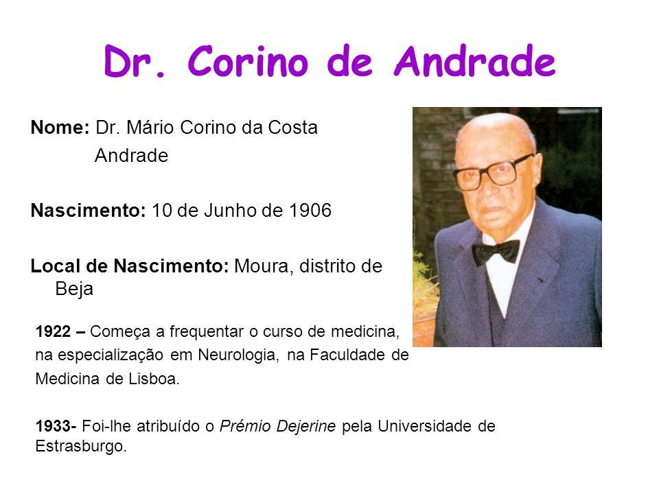 Dr. Corino de Andrade Nome: Dr. Mário Corino da Costa Andrade Nascimento: 10 de Junho de 1906 Local de Nascimento: Moura, distrito de Beja 1922 – Come